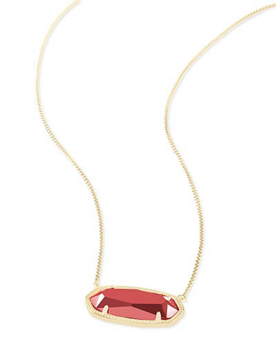 Delaney Pendant Necklace in Dark Red