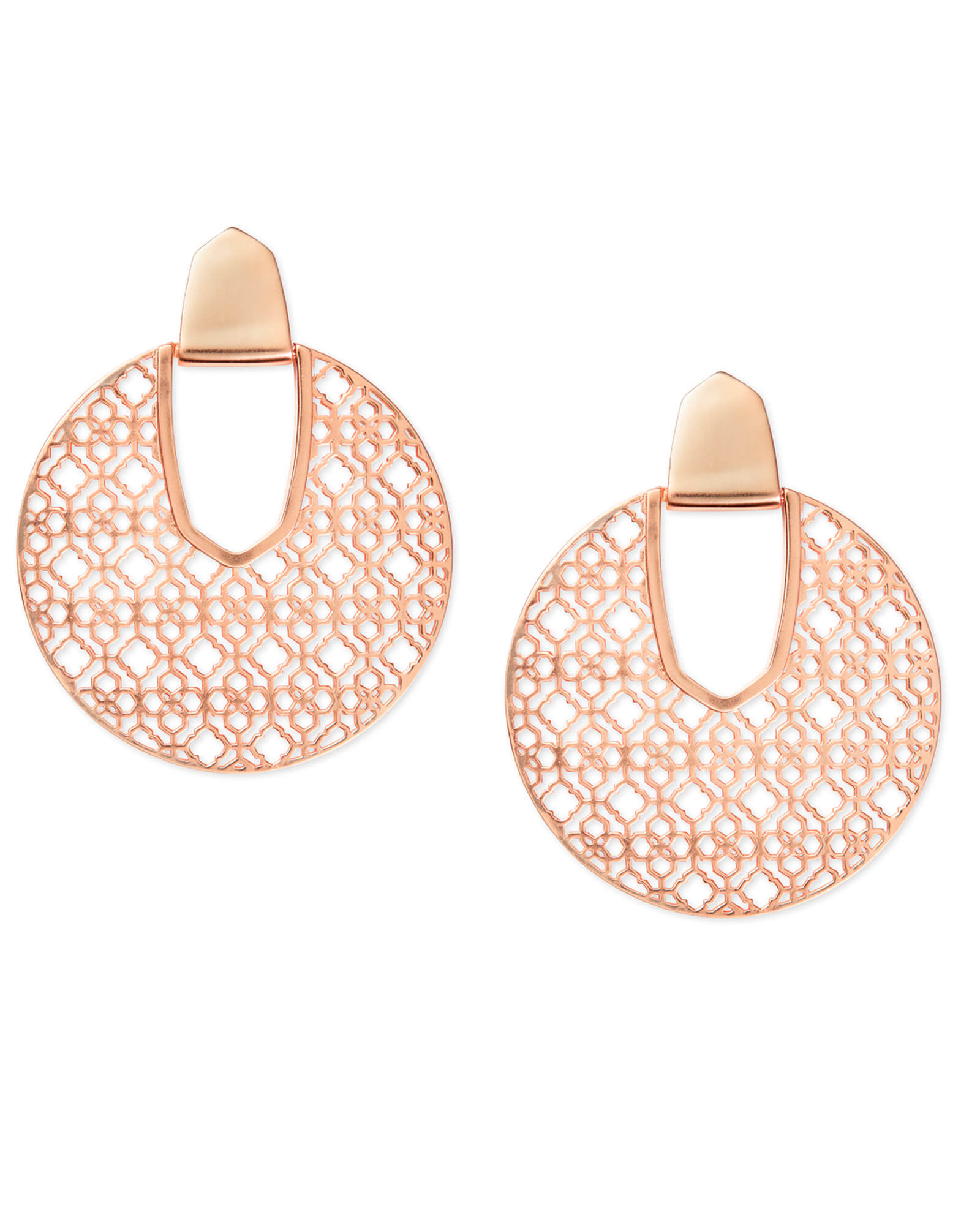 Diane Rose Gold Statement Earrings in Rose Gold Filigree