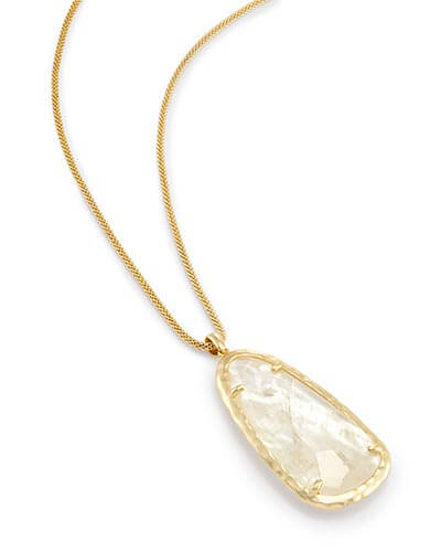 Saylor Long Pendant Necklace in Crystal Ivory Illusion