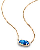Elisa Pendant Necklace in Royal Blue Kyocera Opal