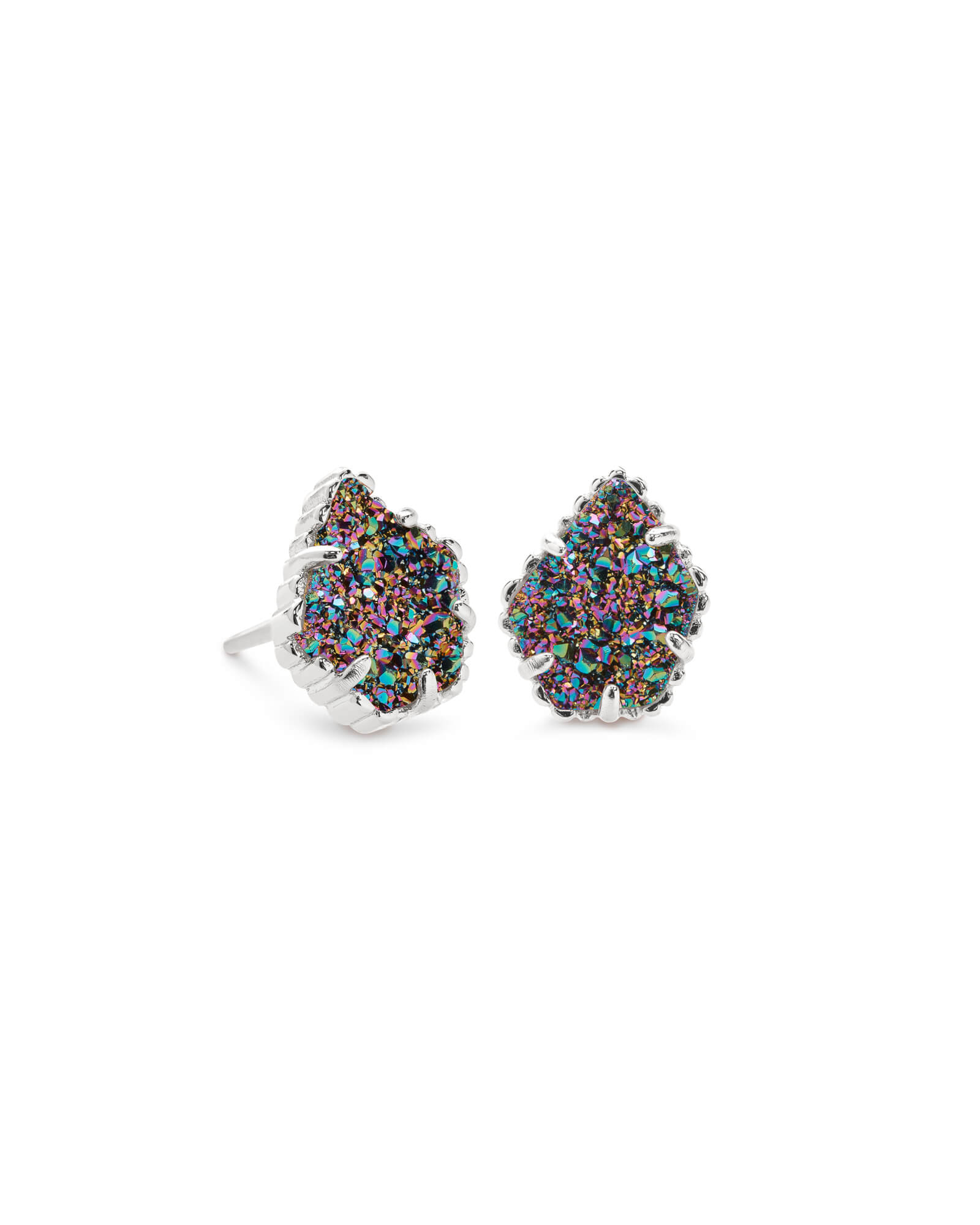 Tessa Silver Stud Earrings in Multicolor Drusy