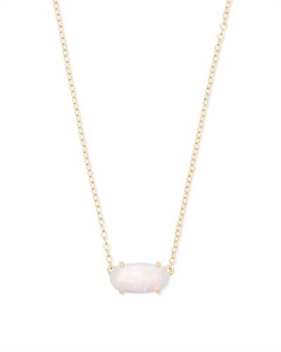 Ever Gold Pendant Necklace in White Kyocera Opal