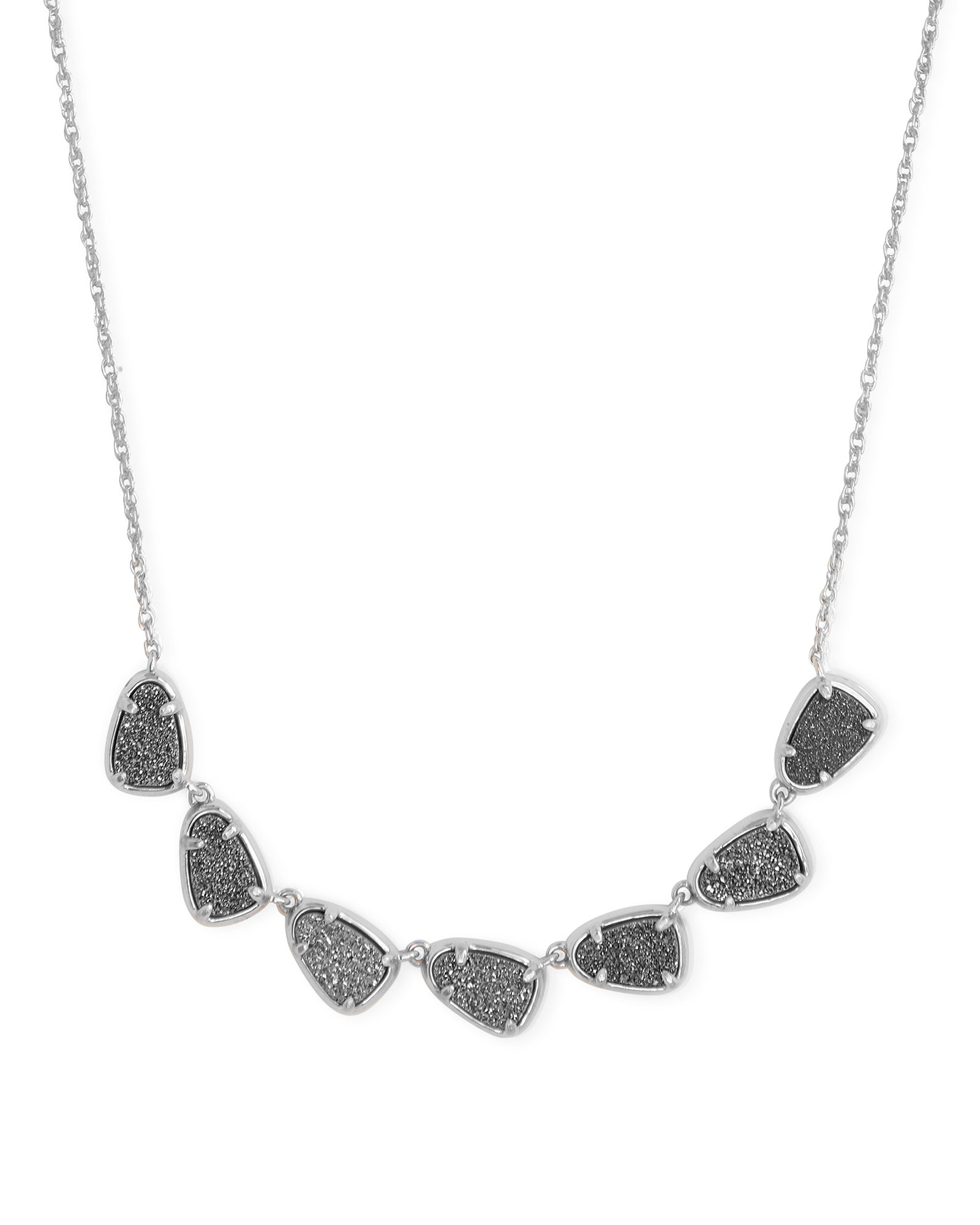 Susanna Silver Collar Necklace in Platinum Drusy