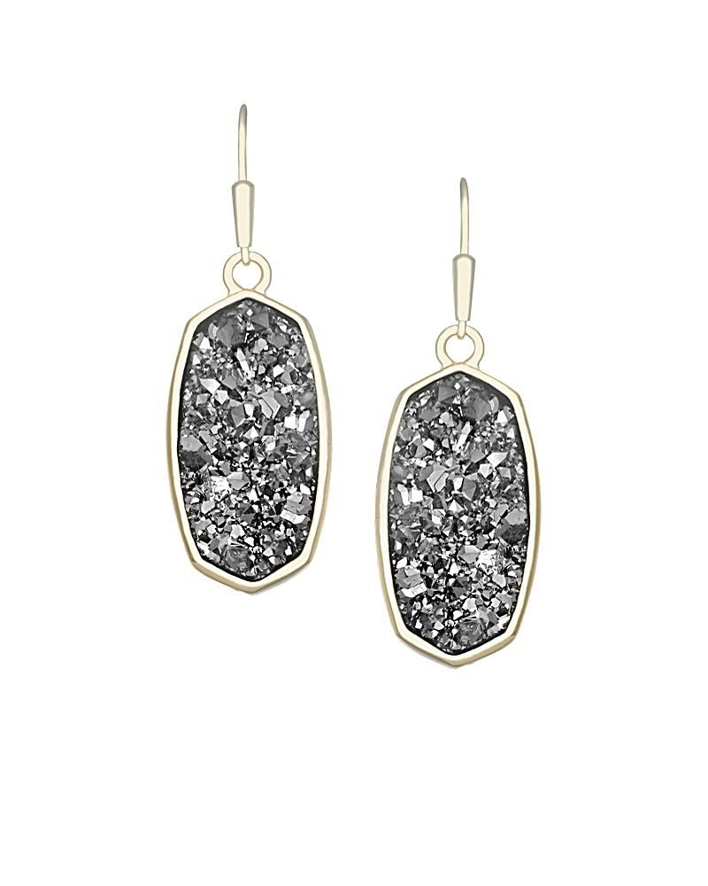 Danay Gold Earrings in Platinum Crystallized Drusy