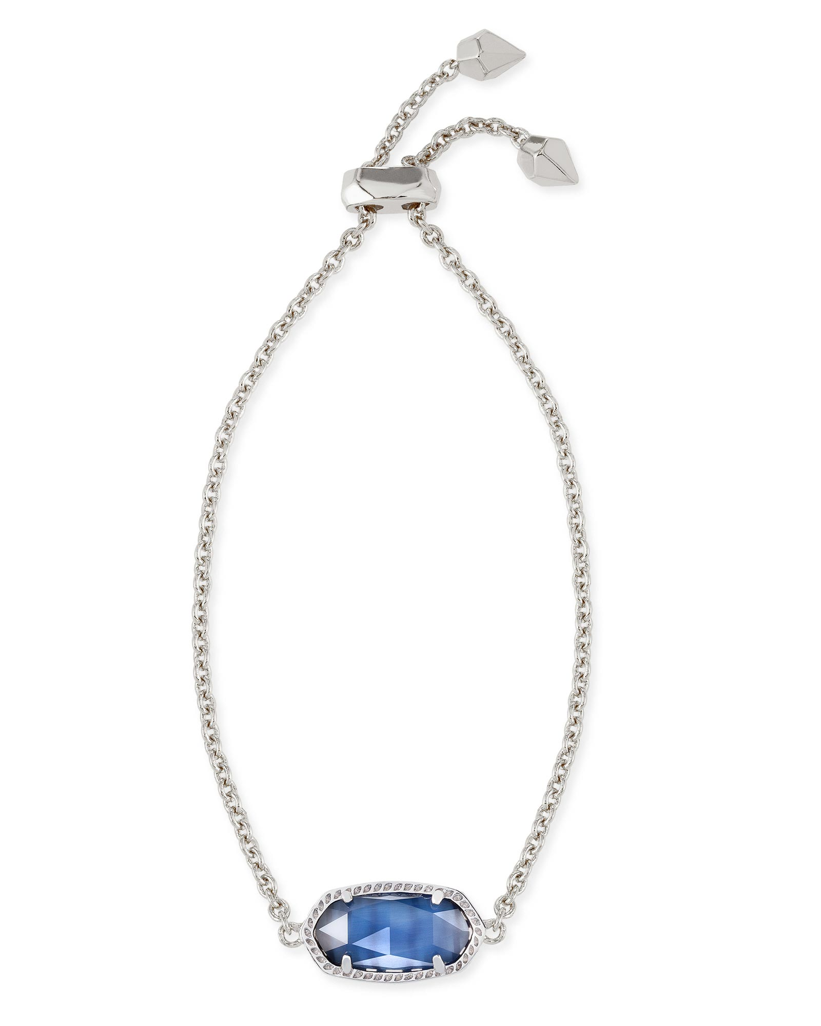 Elaina Silver Adjustable Chain Bracelet in Navy Cat's Eye