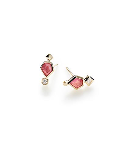 Bonnie Stud Earrings in Pink Tourmaline and 14k Yellow Gold