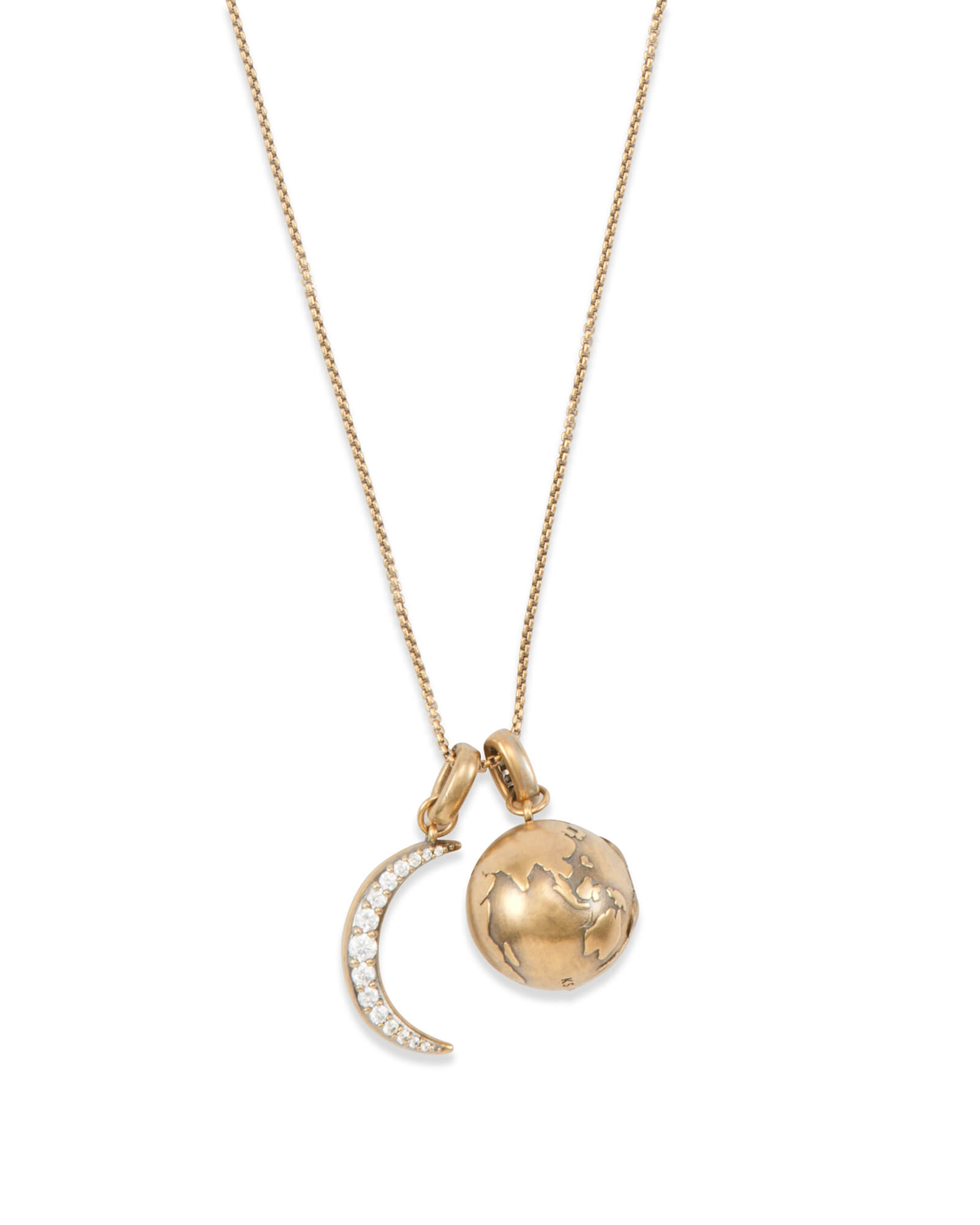 To the Moon and Back Charm Necklace Set in Vintage Gold