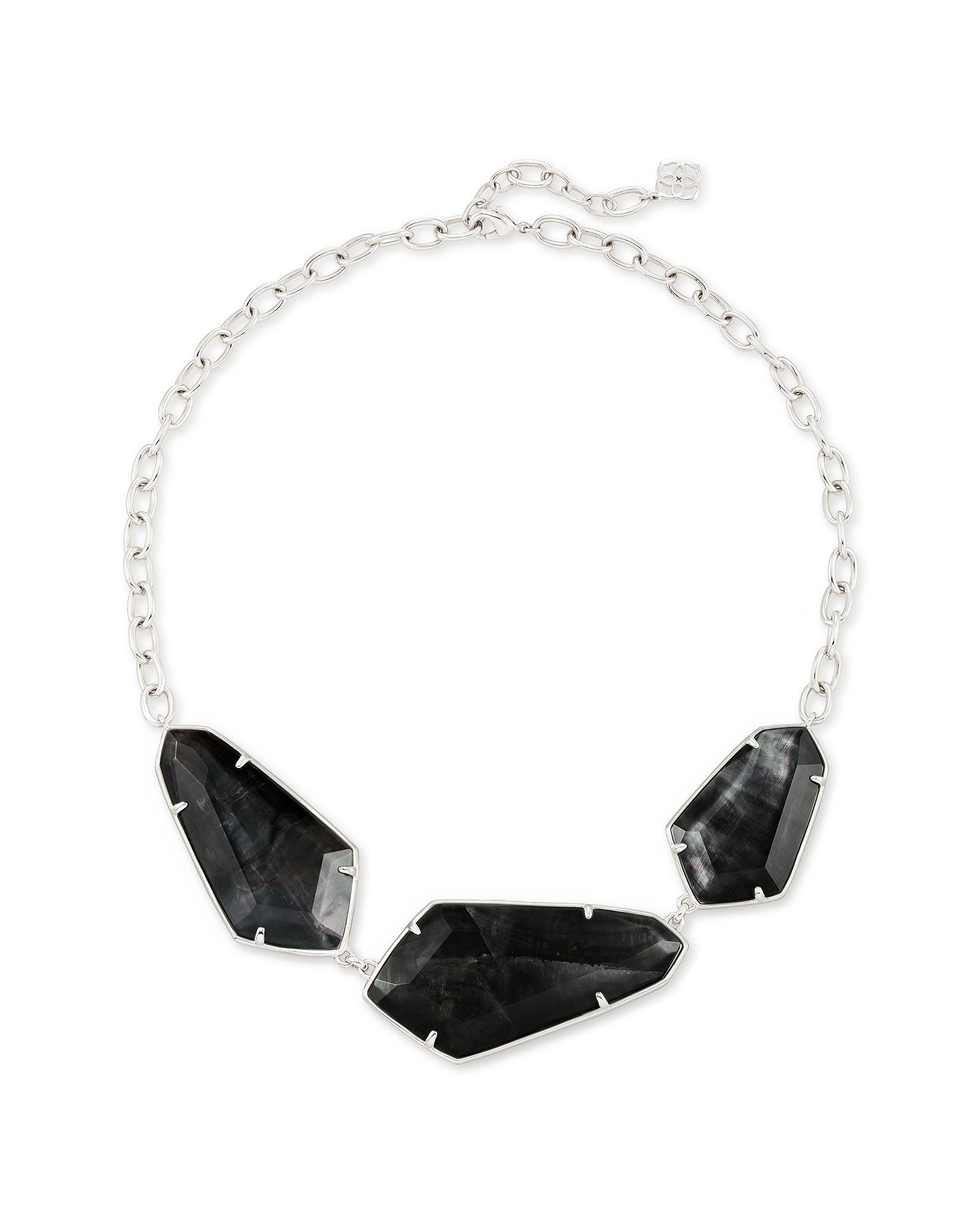 Violet Silver Statement Necklace in Black Cat's Eye