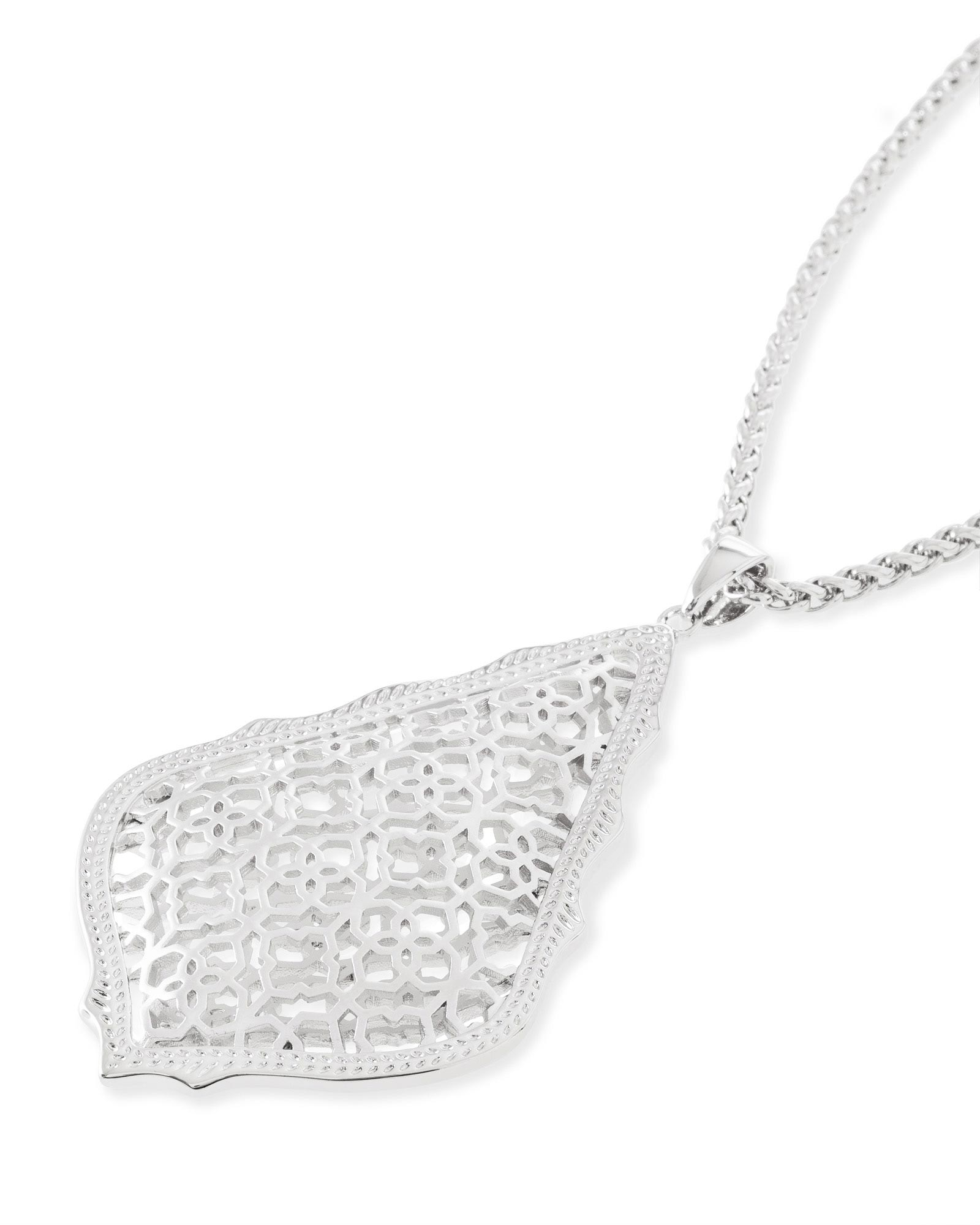 Aiden long pendant necklace in silver filigree kendra scott aiden silver long pendant necklace in silver filigree mozeypictures Gallery