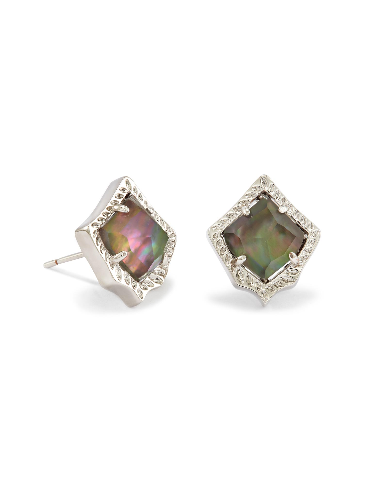 19e3c3477 Kirstie Silver Stud Earrings in Black Pearl | Kendra Scott