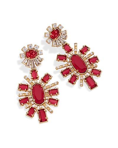 Glenda Statement Earrings in Berry Glass