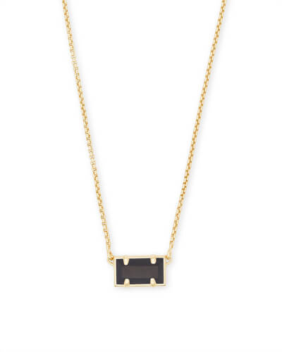 Pattie Gold Pendant Necklace In Black Opaque Glass