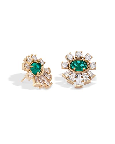 Atticus Stud Earrings in Emerald Glass