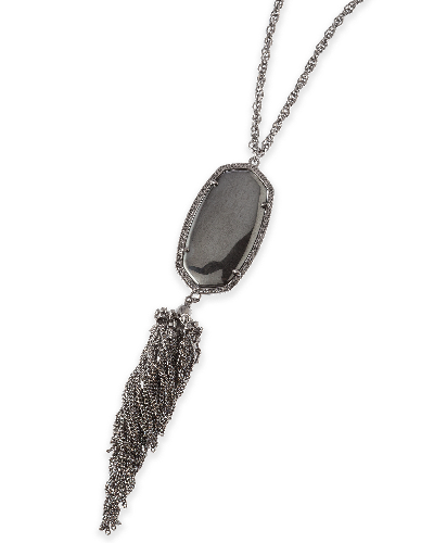 Rayne Long Necklace in Hematite