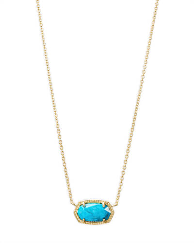 Elisa Gold Pendant Necklace in Aqua Howlite