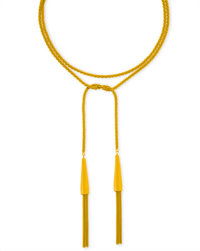 Phara Matte Lariat Necklace in Yellow