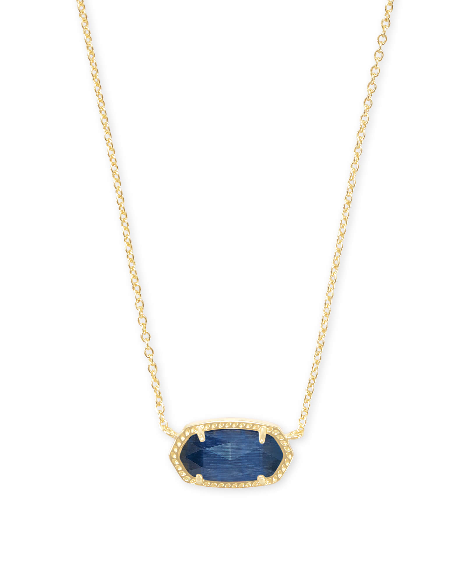 Elisa Gold Pendant Necklace in Navy Cat's Eye