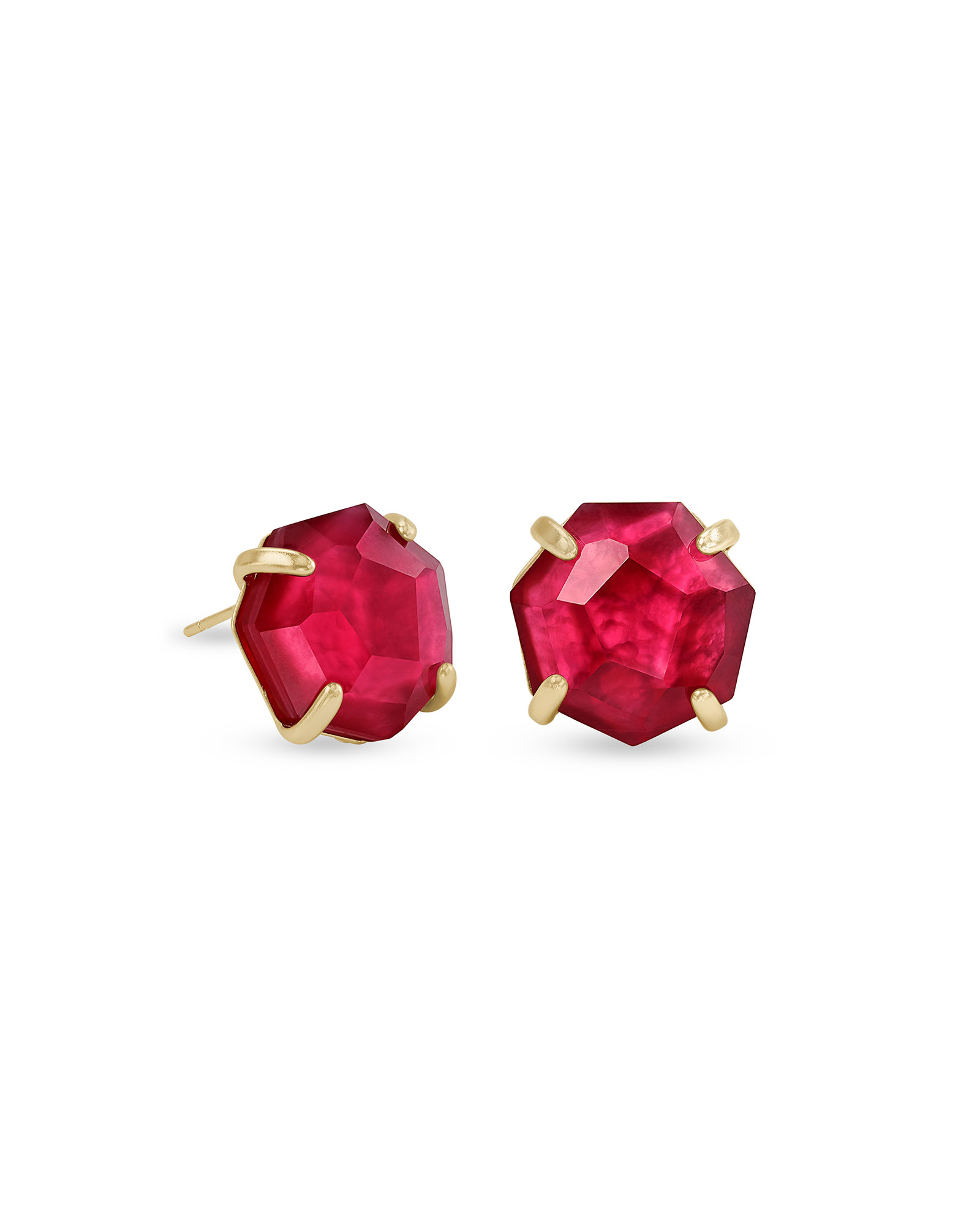 Ryan Gold Stud Earrings in Berry Illusion