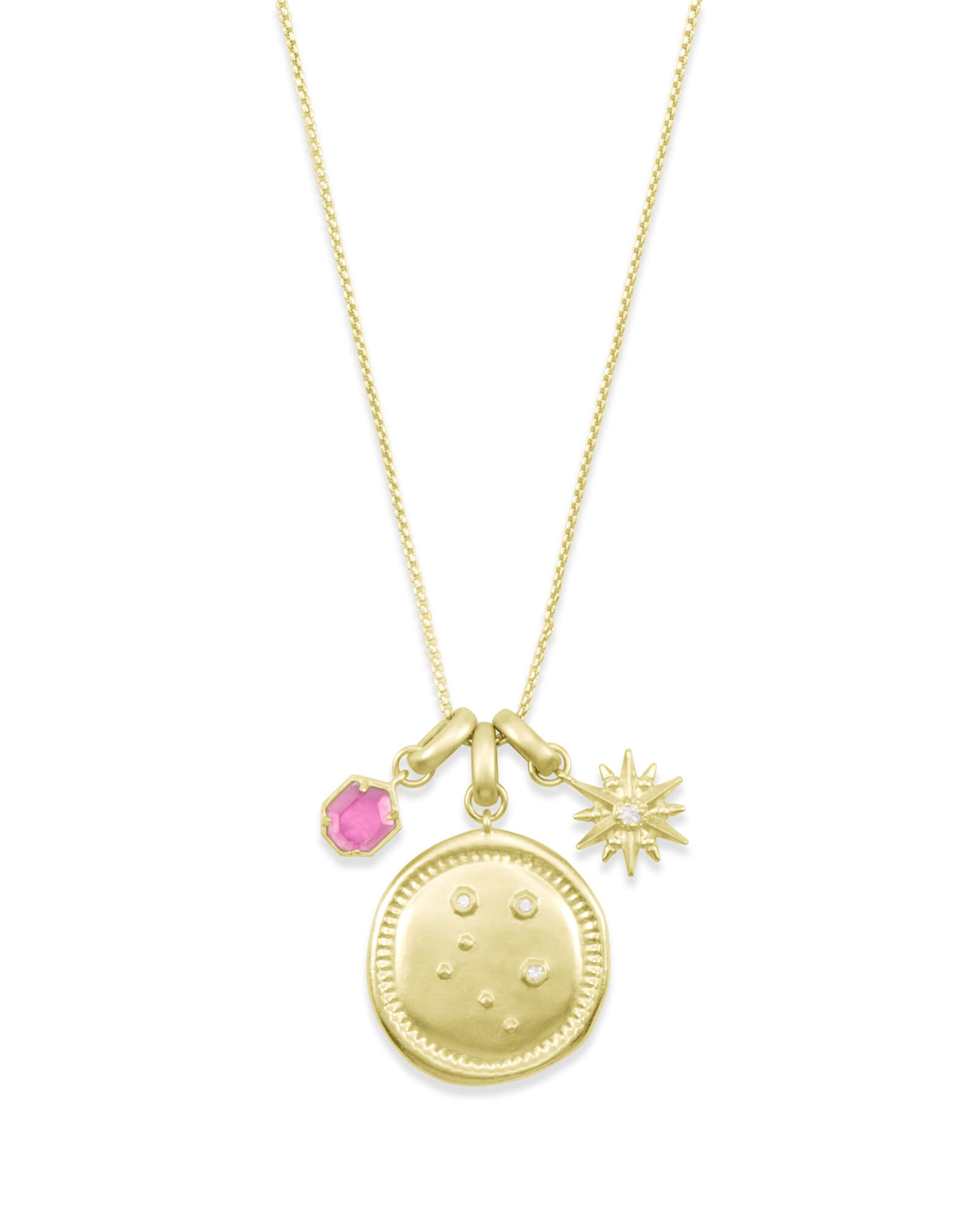 October Libra Charm Necklace Set in Gold