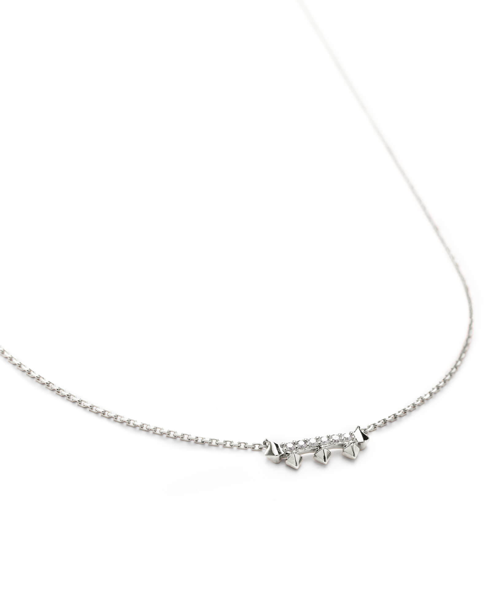 Katy Pendant Necklace in White Diamond and 14k White Gold
