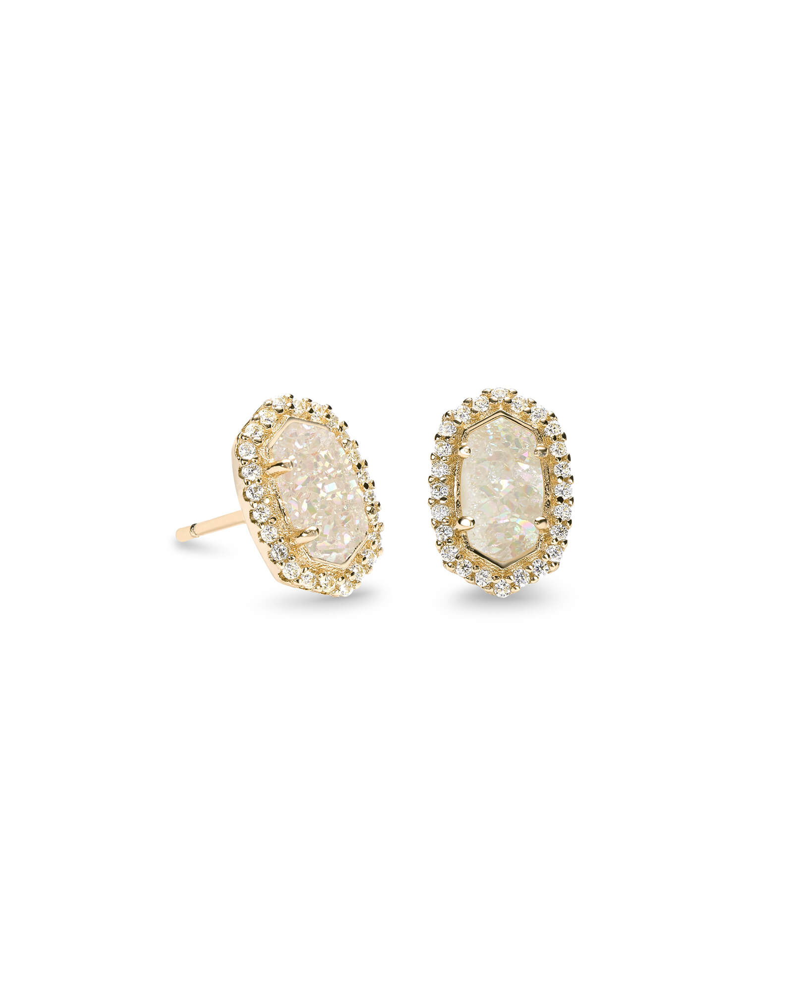 Cade Gold Stud Earrings in Iridescent Drusy