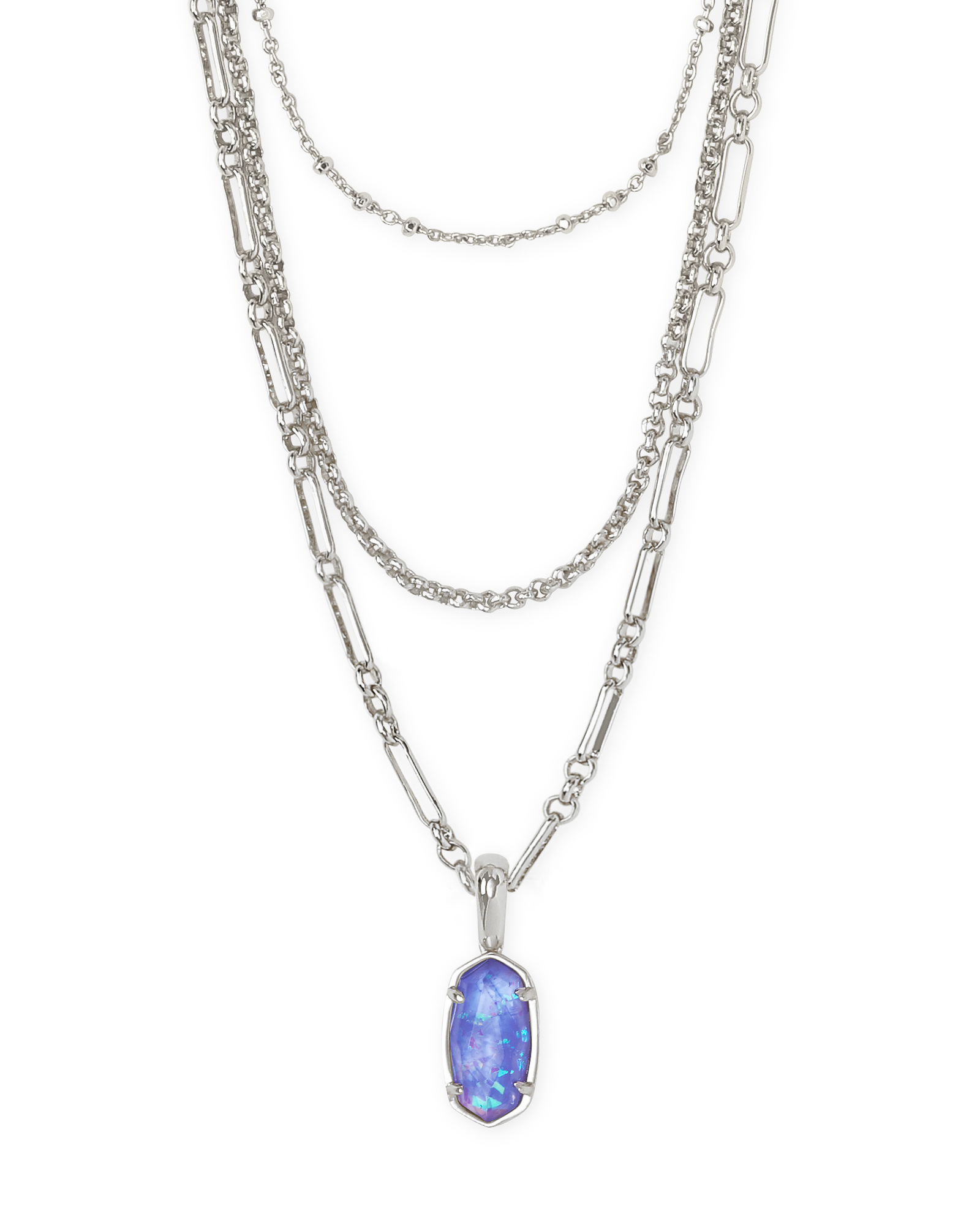 Elisa Silver Triple Strand Necklace in Iridescent Lilac Illusion