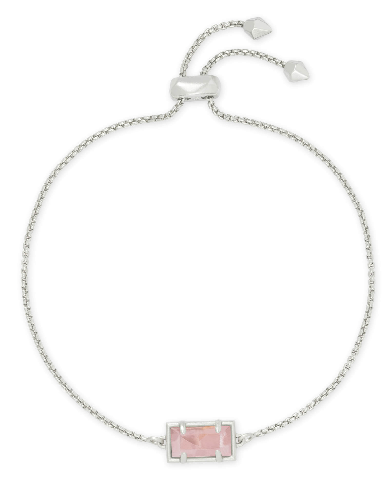 Phillipa Silver Chain Bracelet in Rose Quartz