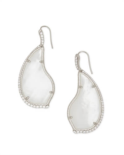 Tinley Silver Drop Earrings in Ivory Pearl