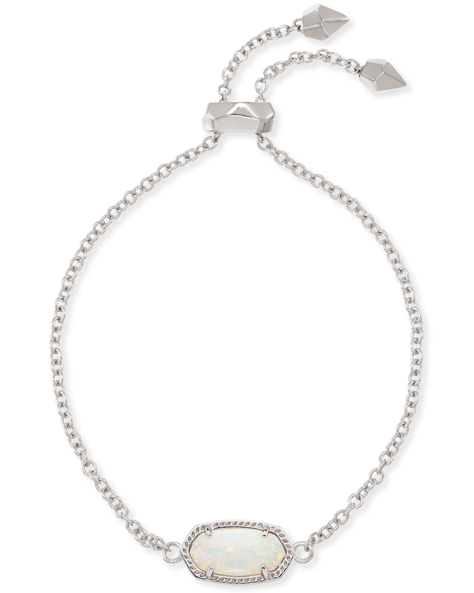 Elaina Silver Adjustable Chain Bracelet in White Kyocera Opal