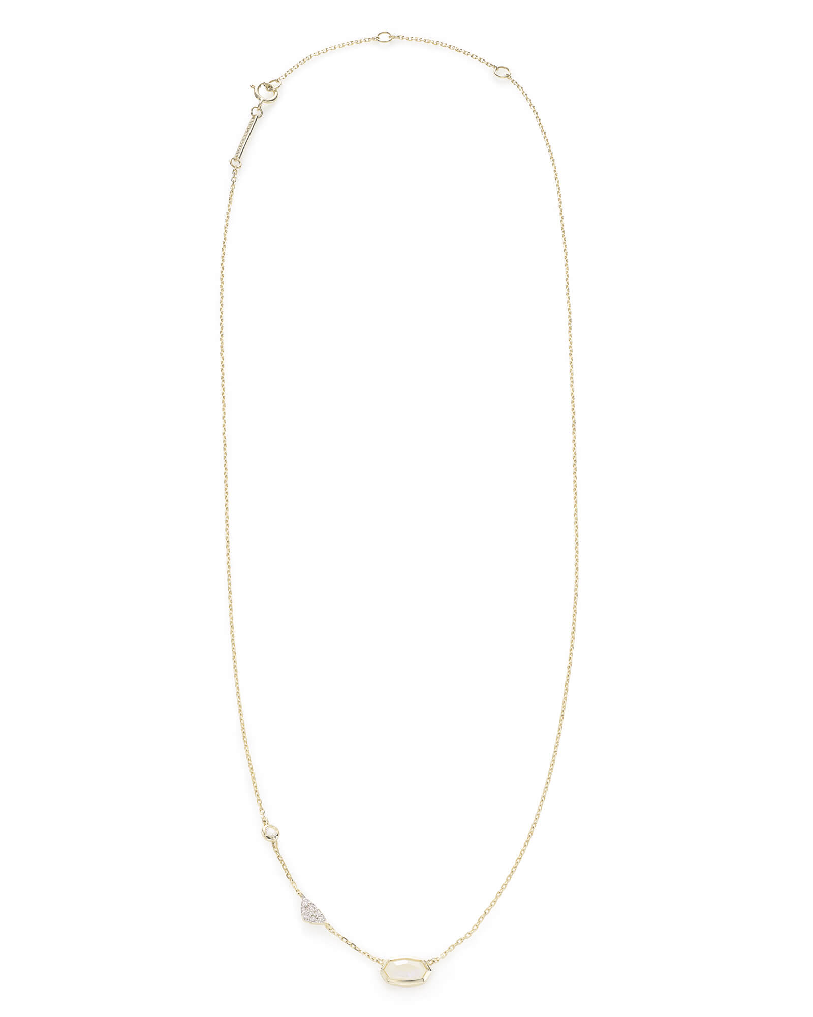 Aryn Pendant Necklace in Rainbow Moonstone and 14k Yellow Gold