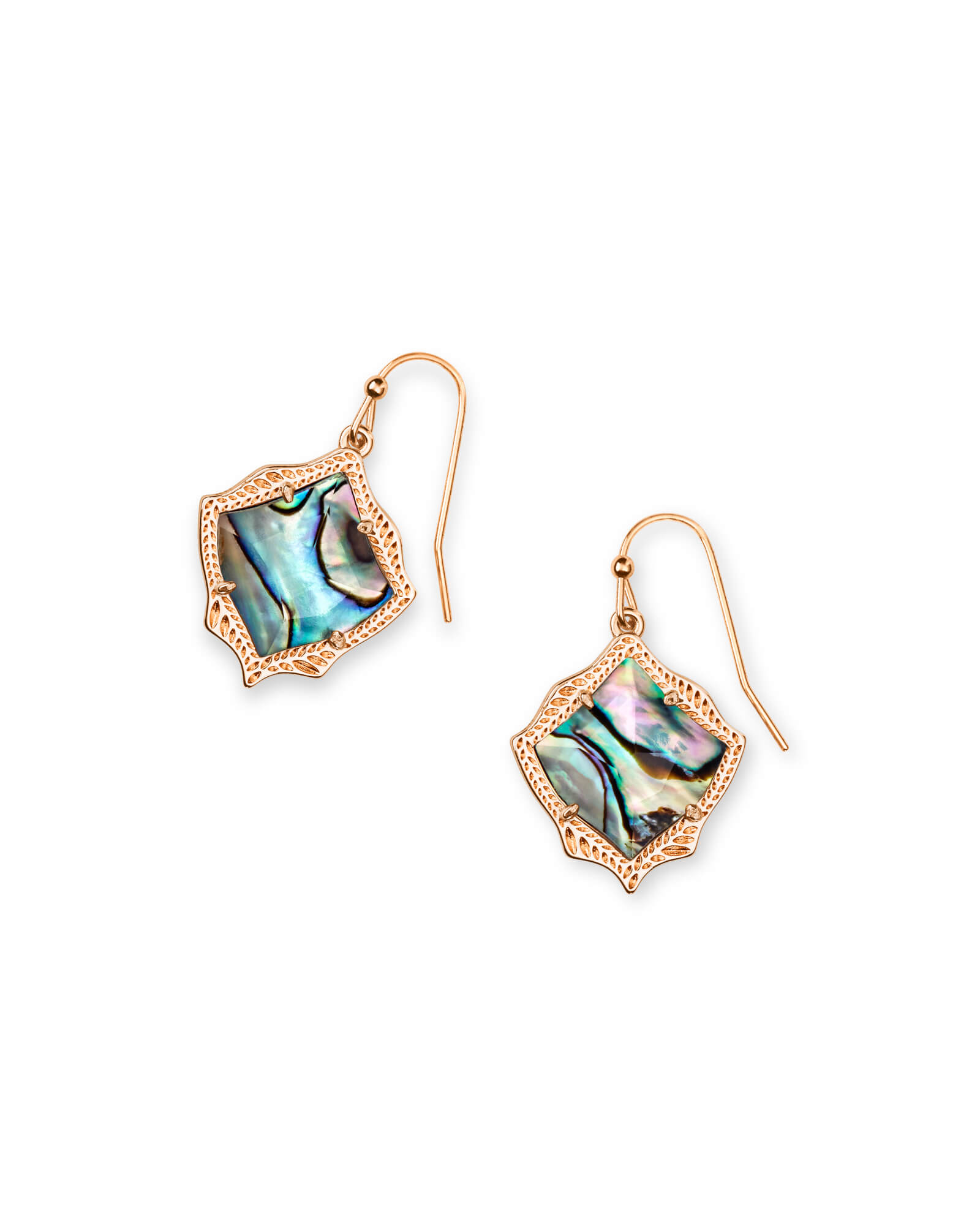 Kyrie Rose Gold Drop Earrings in Abalone Shell