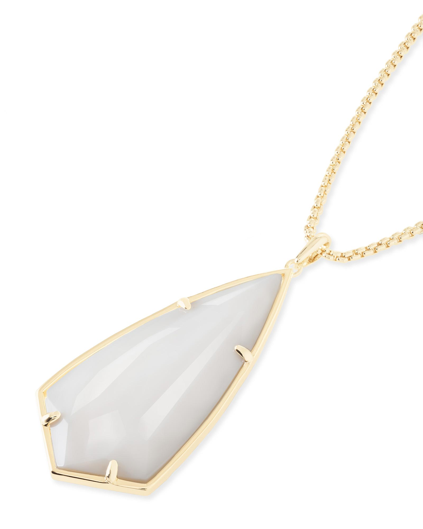 Carole Long Pendant Necklace in White Pearl