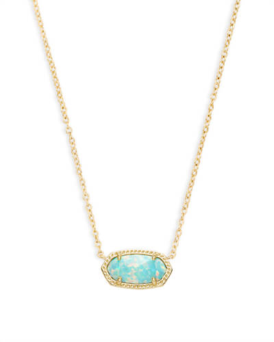 Elisa Pendant Necklace in Aqua Kyocera Opal