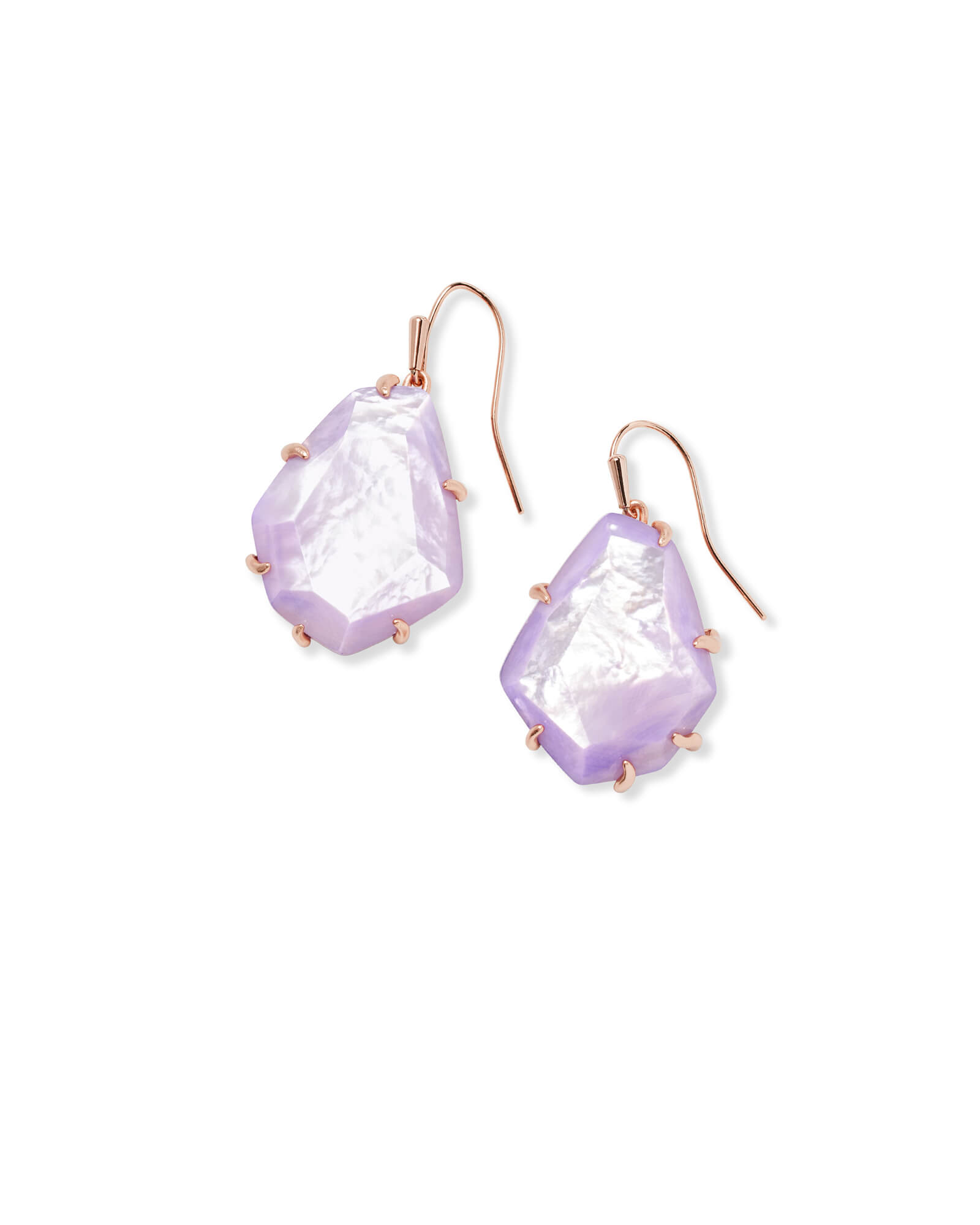Rosenell Rose Gold Drop Earrings In Lilac Mother of Pearl