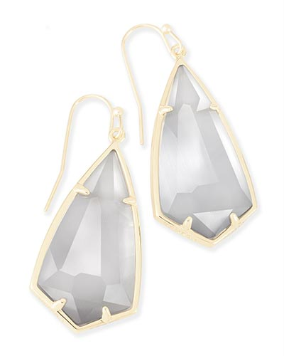 Carla Gold Drop Earrings in Slate