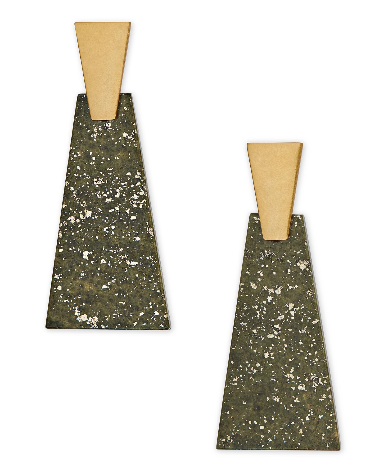 Collins Vintage Gold Statement Earrings in Olive Epidote