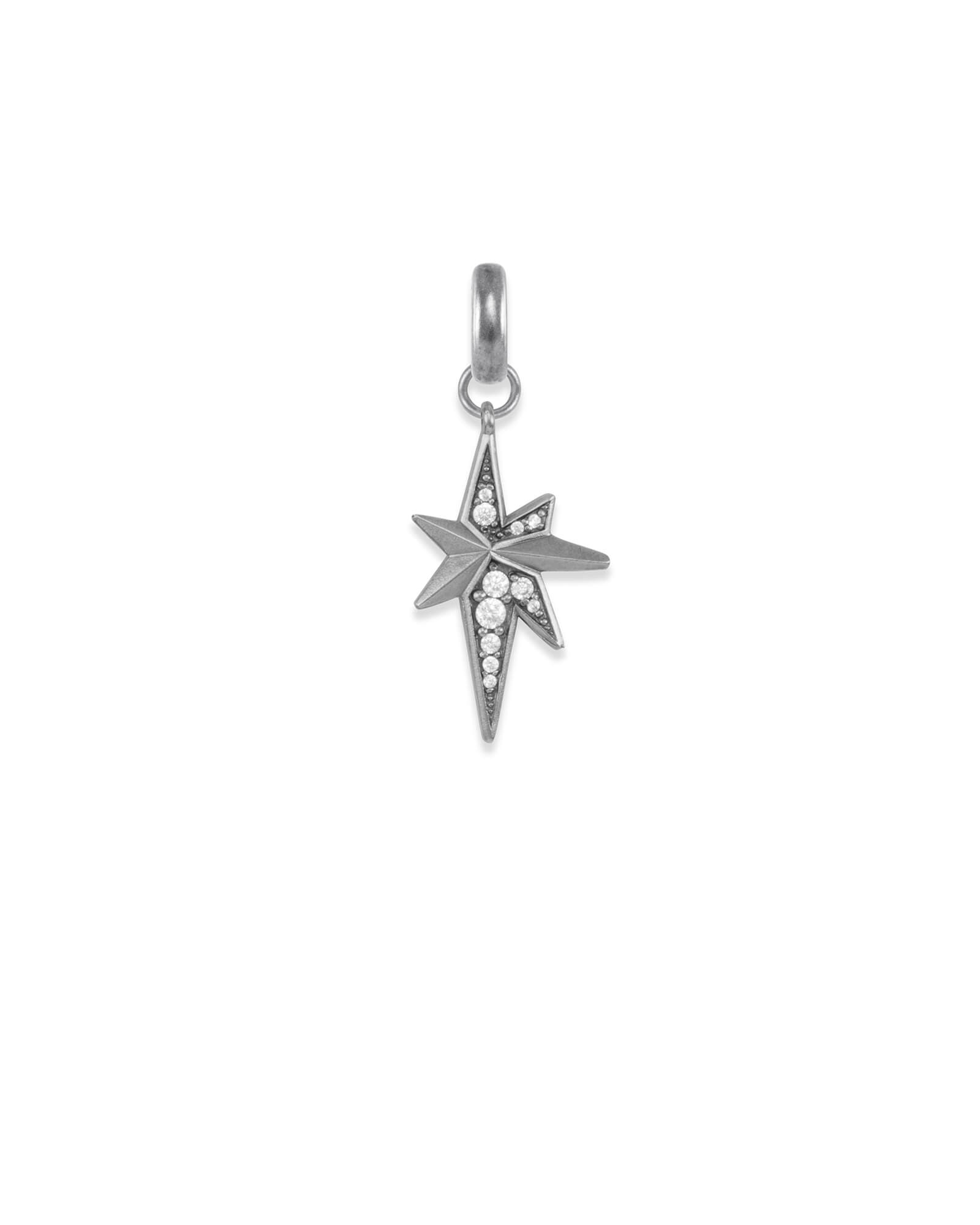North Star Charm in Vintage Silver