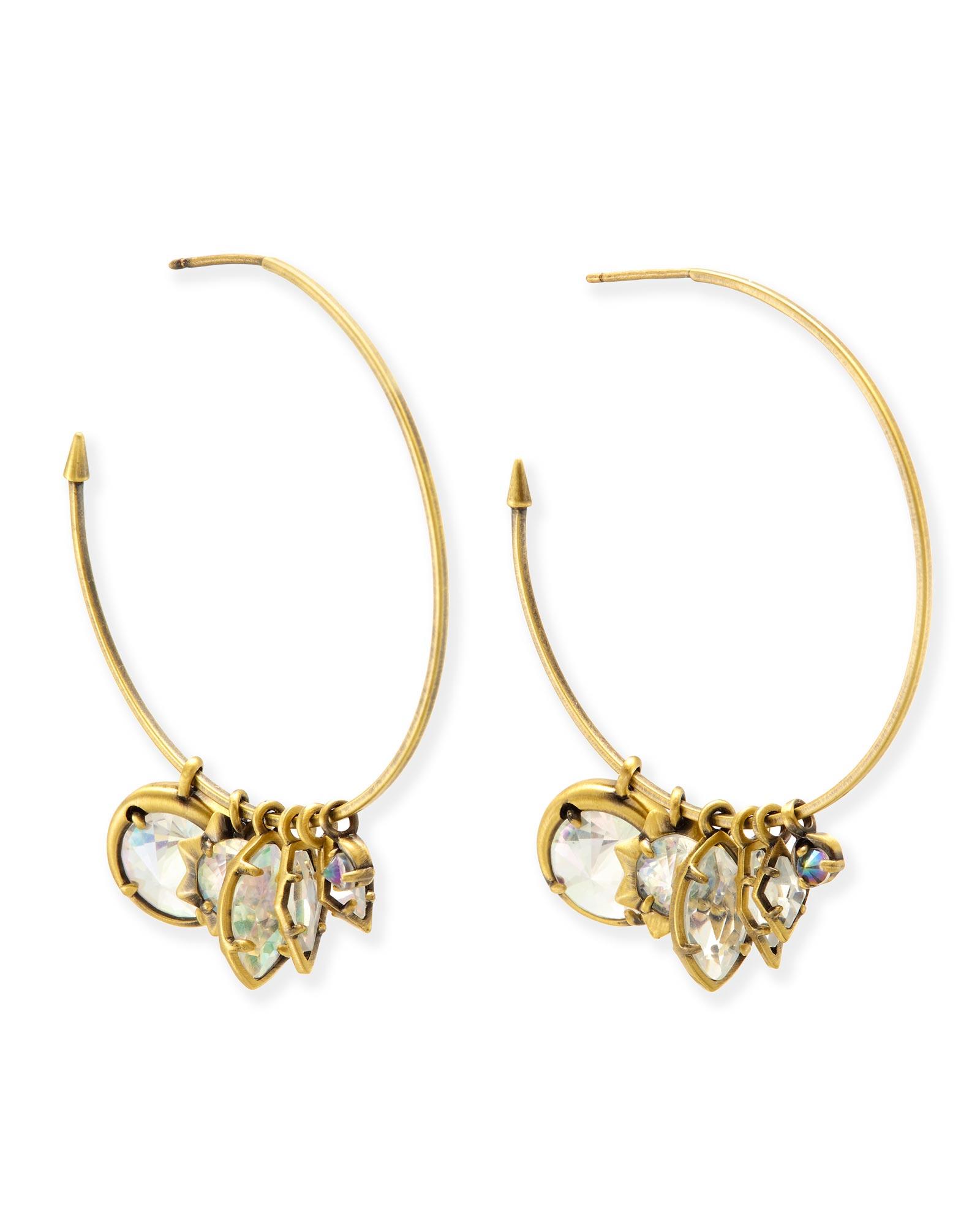 Alyssa Charm Hoop Earrings In Antique Br