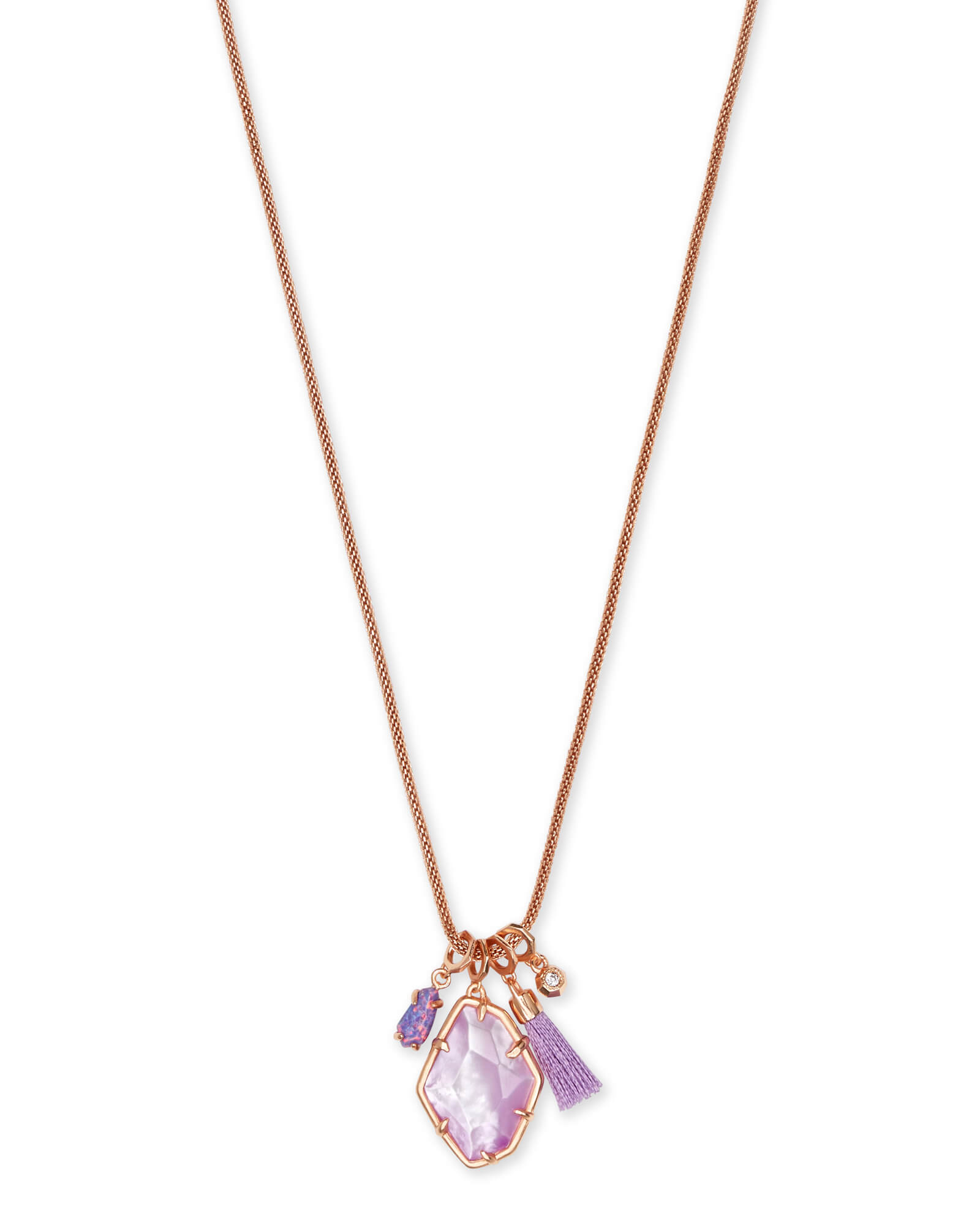 Hailey Rose Gold Long Pendant Necklace In Lilac Mother of Pearl