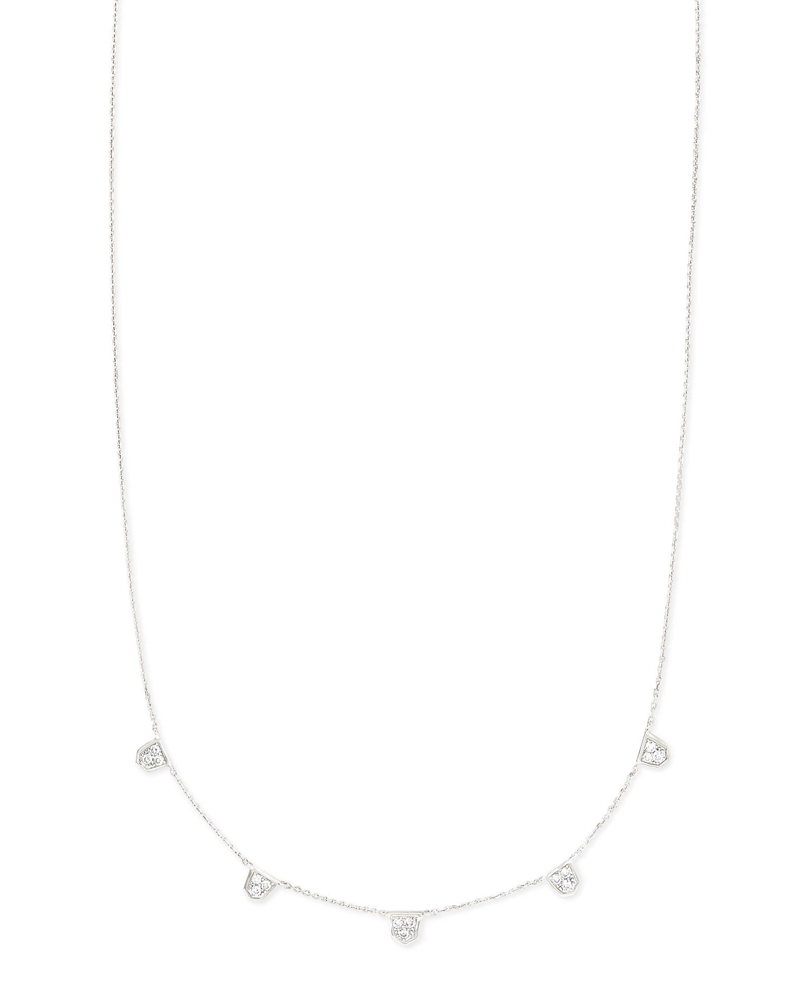 Shannon 14k White Gold Collar Necklace in White Diamond