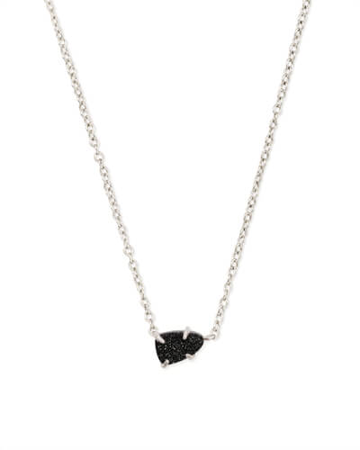 Helga Silver Pendant Necklace in Black Drusy