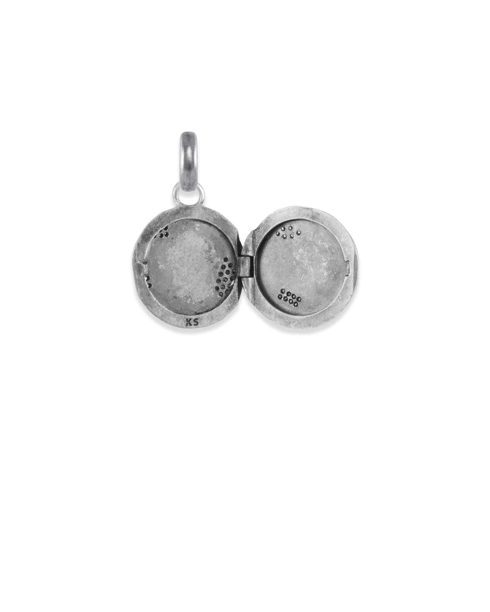 Pave Locket Charm in Vintage Silver