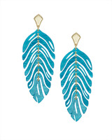 Lotus Gold Statement Earrings in Teal Marbled Acrylic