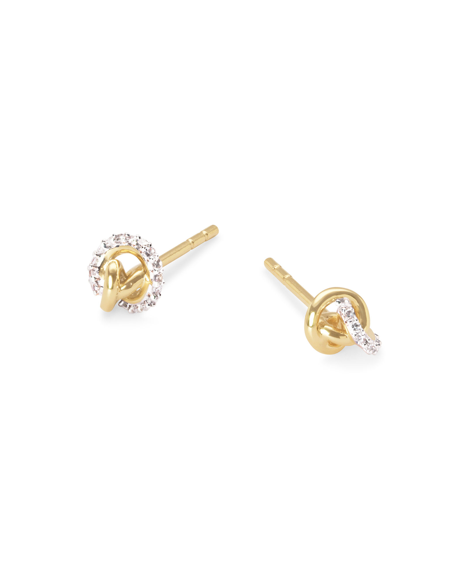 Love Knot 14K Yellow Gold Stud Earring in White Diamond
