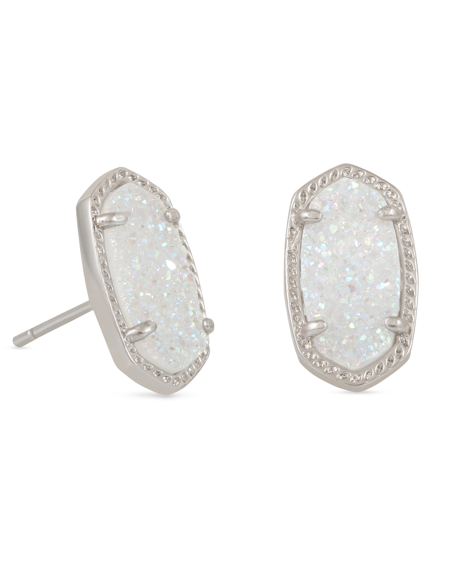 Ellie Silver Stud Earrings in Iridescent Drusy