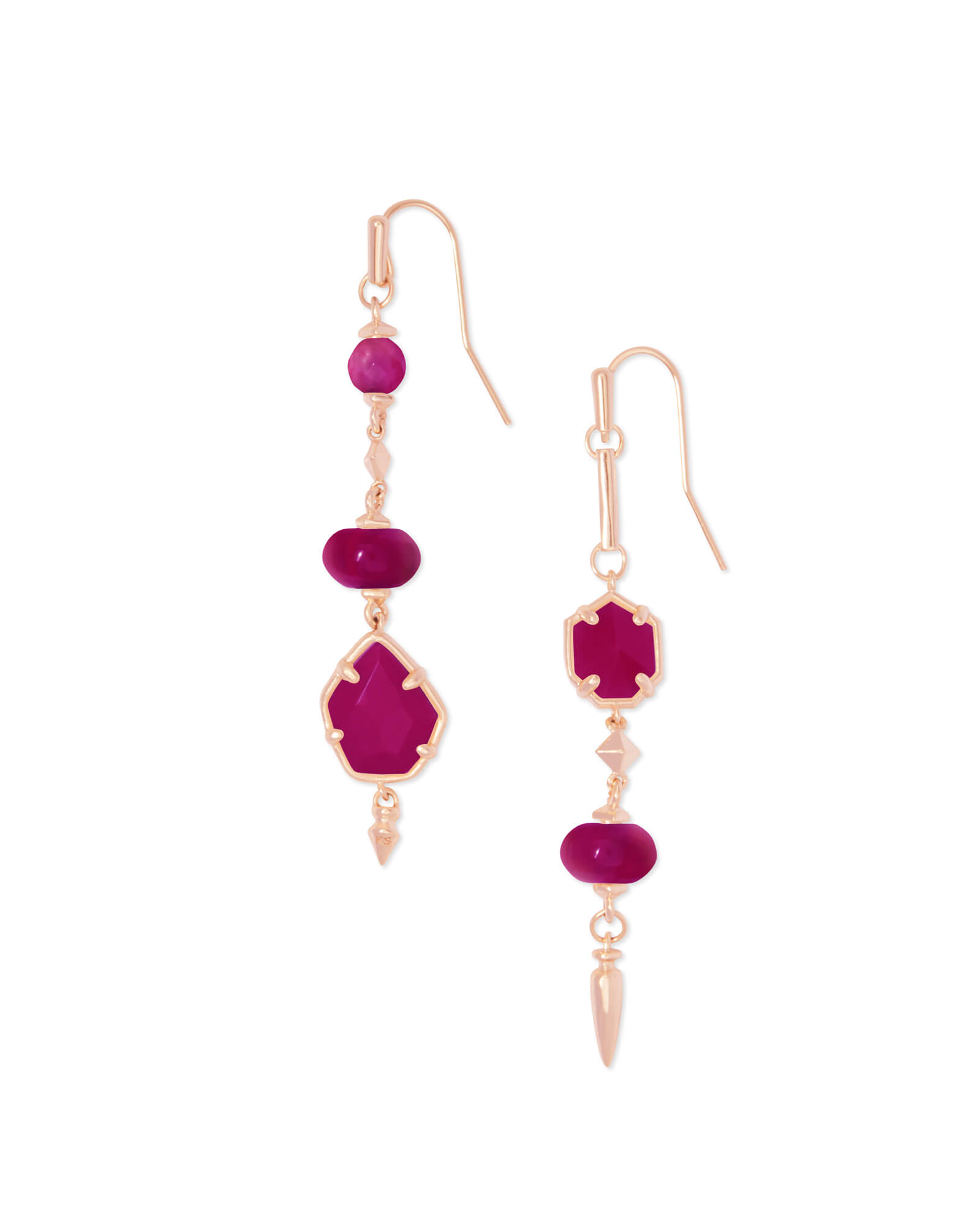 Rhys Rose Gold Statement Earrings in Maroon Jade