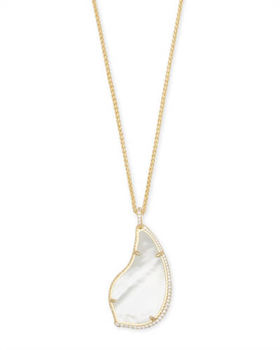 Theodora Gold Long Pendant Necklace in Ivory Pearl