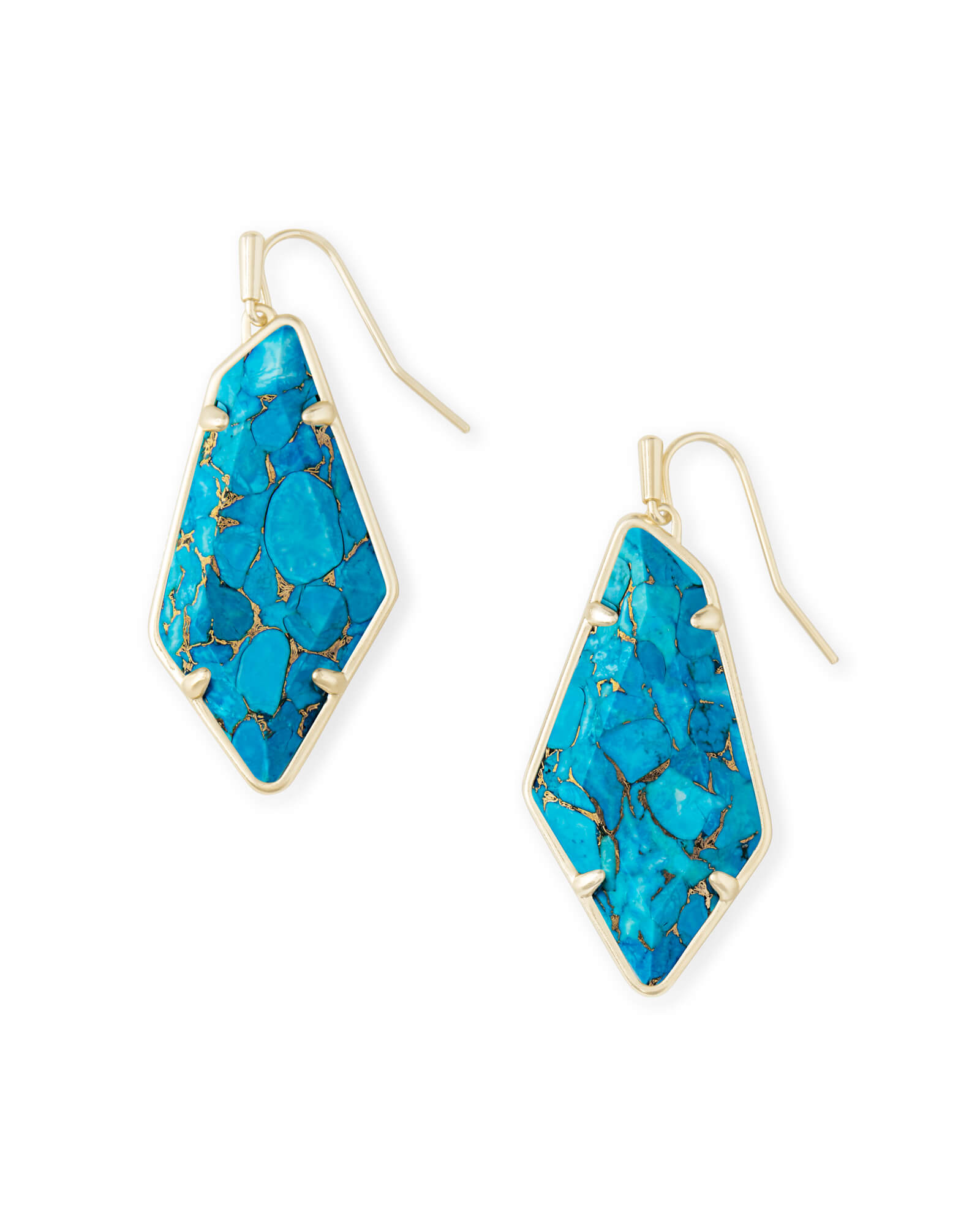 Emmie Gold Drop Earrings in Bronze Veined Turquoise Magnesite