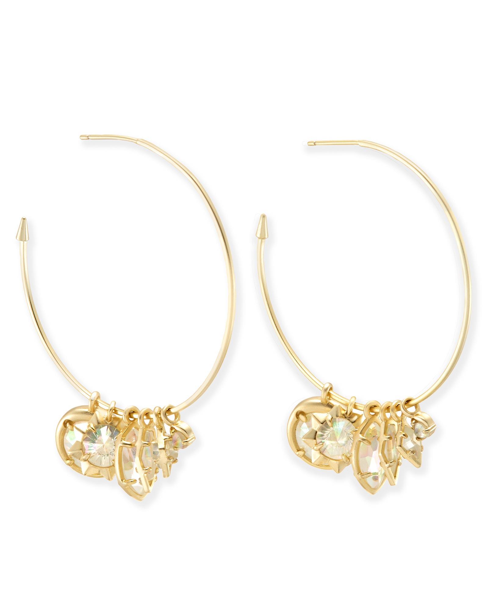 Alyssa Charm Hoop Earrings In Gold