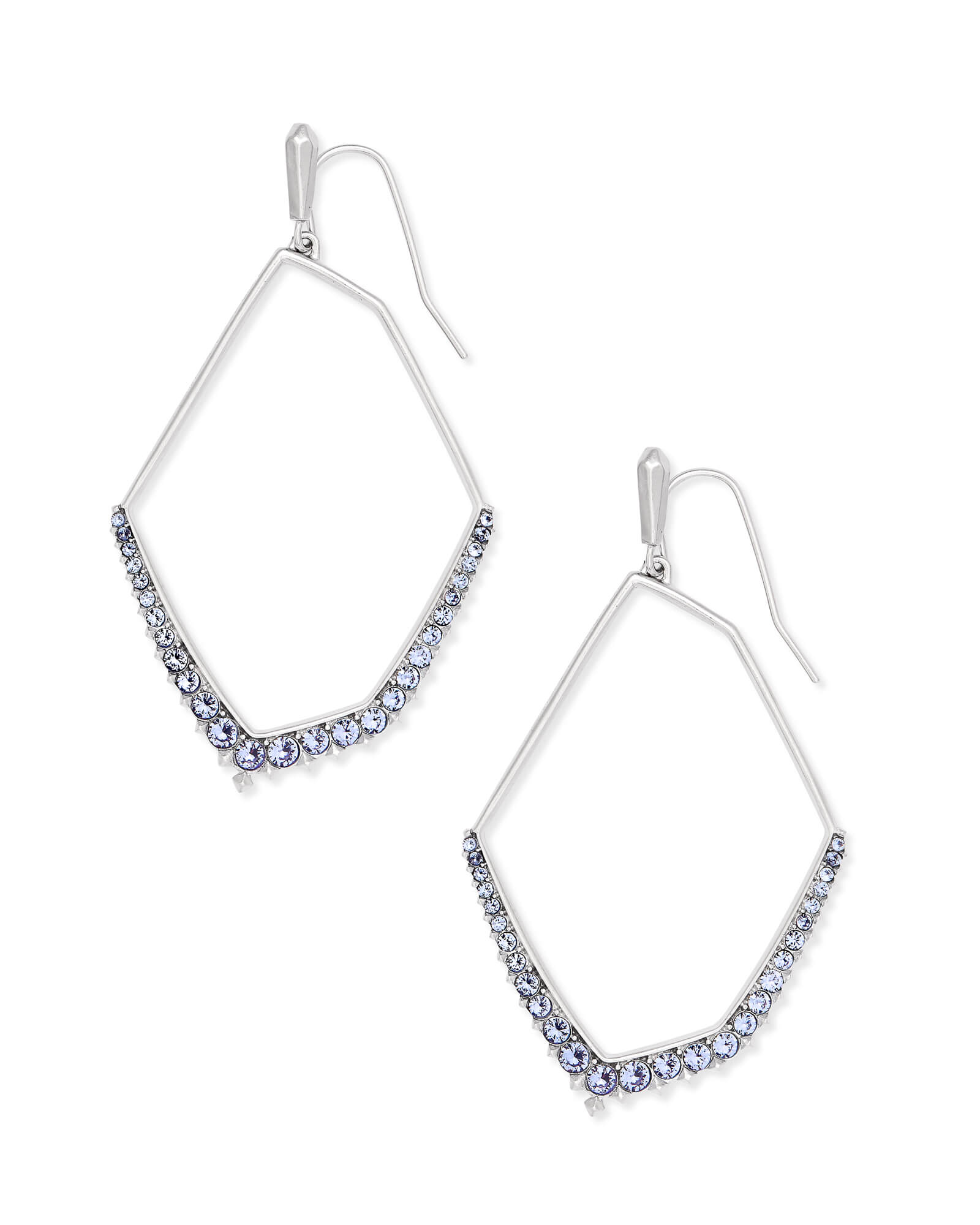 Nell Silver Statement Earrings in Lilac Crystal